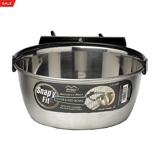 Midwest Snap'y Fit Stainless Steel Water & Feed Bowl for Dogs, 4 Cup - Carousel image #1