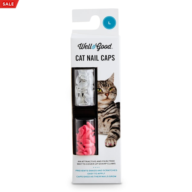 Well & Good Pink & Clear Cat Nail Caps, Large - Carousel image #1