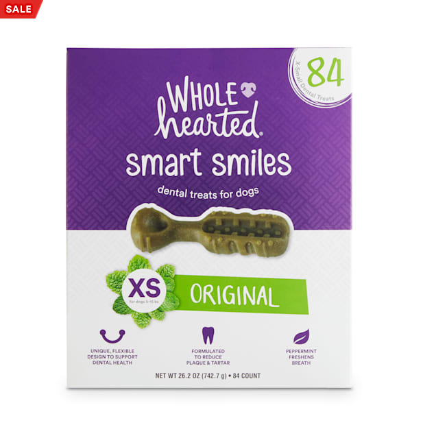 Wholehearted Smart Smiles Original Flavor X-Small Dog Dental Treats, 26.2 oz., Count of 84 - Carousel image #1