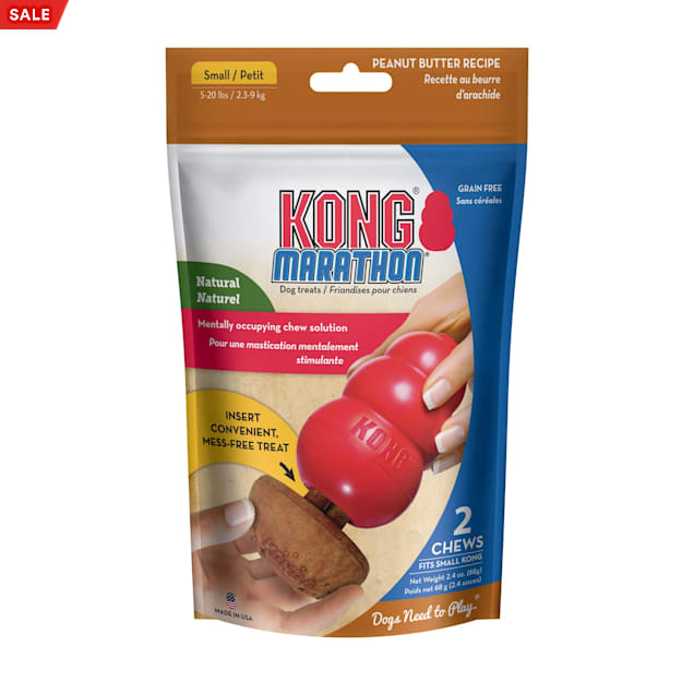 KONG Marathon Peanut Butter Chew Dog Toys, Small, Pack of 2 - Carousel image #1