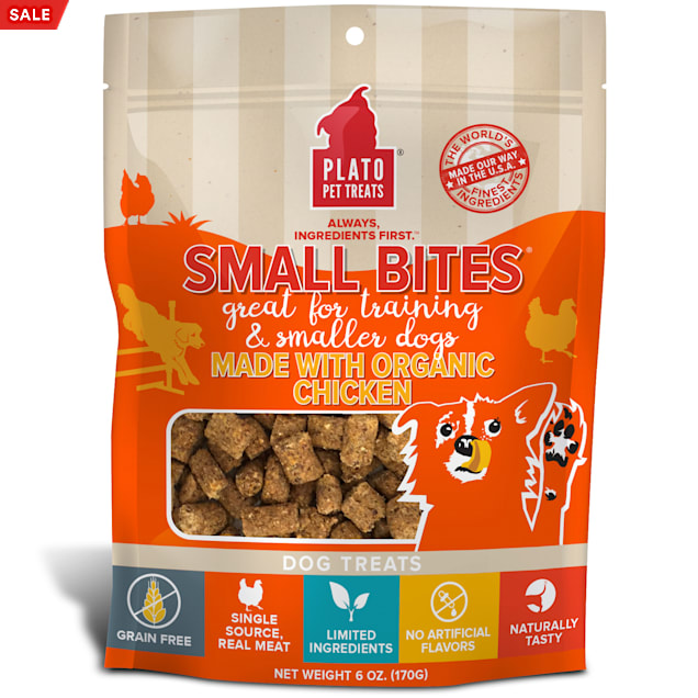 Plato Pet Small Bites Made with Organic Chicken Dog Treats, 6 oz. - Carousel image #1