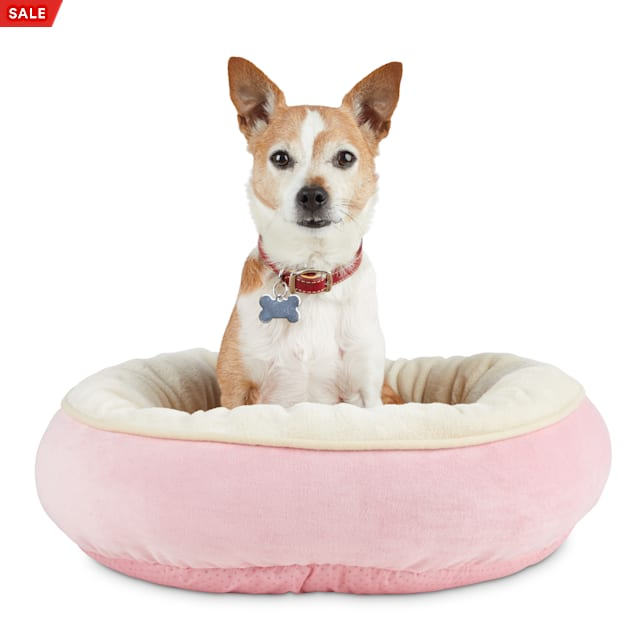 "Animaze Pink Round Bolster Dog Bed, 20"" L X 20"" W X 6"" H - Carousel image #1"