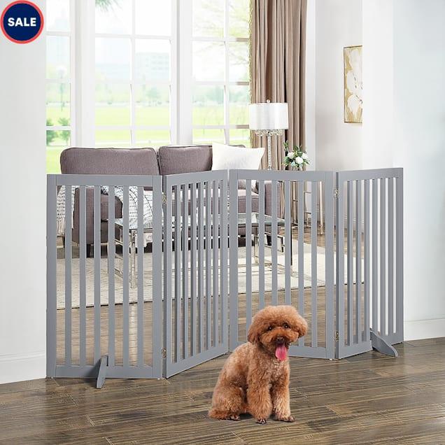 "UniPaws Flat Wooden Gray Freestanding Dog Gate, 20""-80"" W X 36"" H - Carousel image #1"