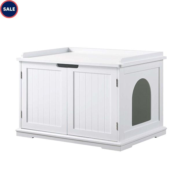 "UniPaws Cat Washroom Storage Bench White, 29"" L x 21"" W x 20"" H - Carousel image #1"