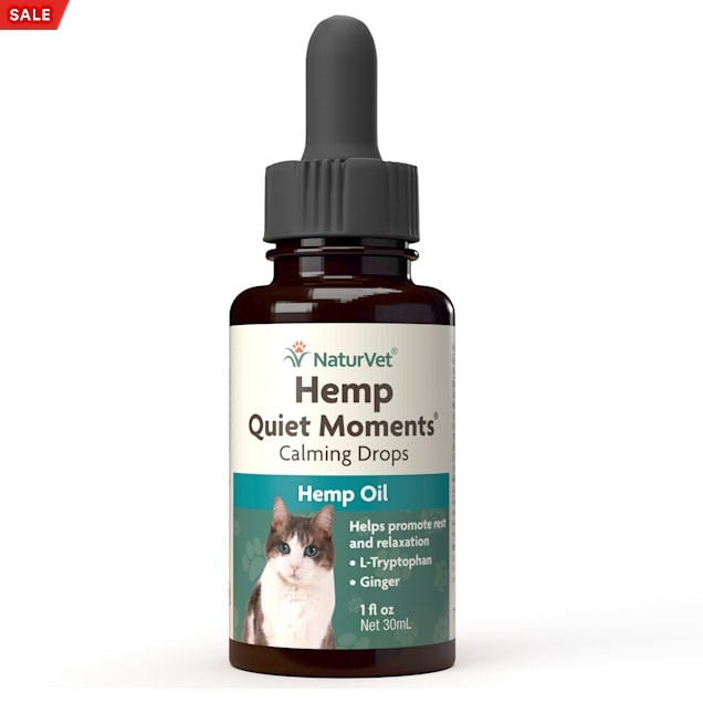 NaturVet Hemp Oil Quiet Moments Calming Drops for Cats, 1 fl. oz. - Carousel image #1