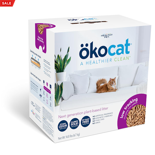Okocat Low Tracking Clumping Mini-Pellets Wood Cat Litter, 14.8 lbs. - Carousel image #1