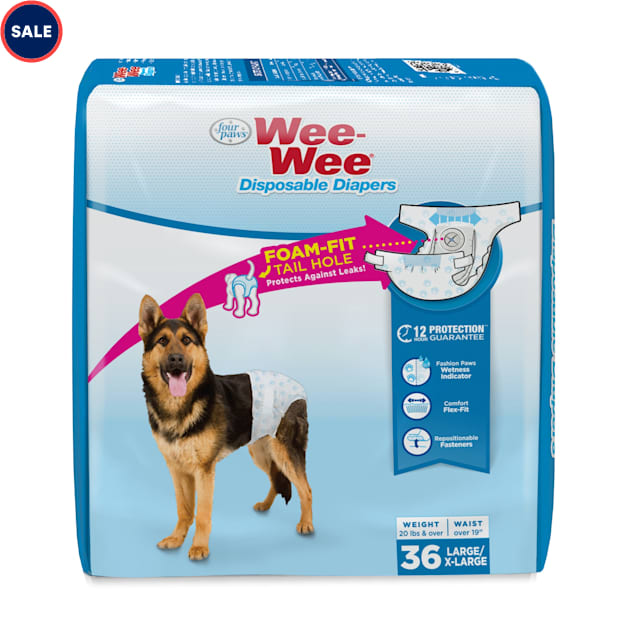 Wee-Wee Disposable Diapers for Dogs, Large/X-Large, Count of 36 - Carousel image #1