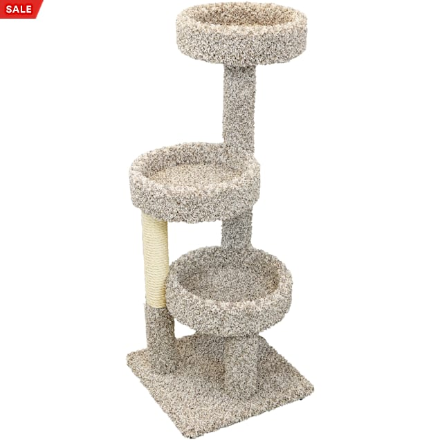 """New Cat Condos 3 Tiered Carpeted Solid Wood Cat Tree Tower, 50"""" H - Carousel image #1"""
