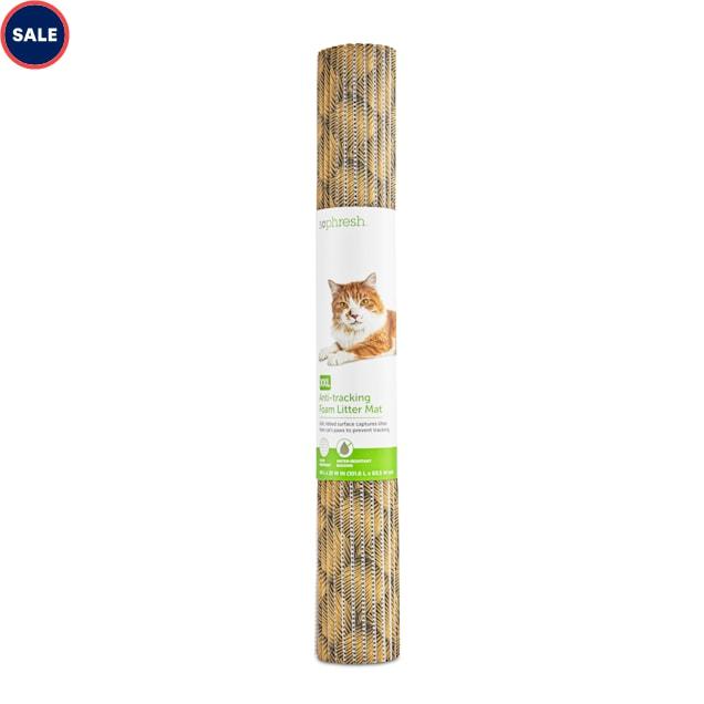"So Phresh Brushstroke-Print Anti-Tracking Foam Cat Litter Mat, 40"" L X 25"" W - Carousel image #1"