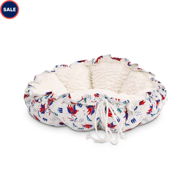"""EveryYay Snooze Fest White Floral Printed Round Cat Bed, 16-20"""" L - Carousel image #1"""