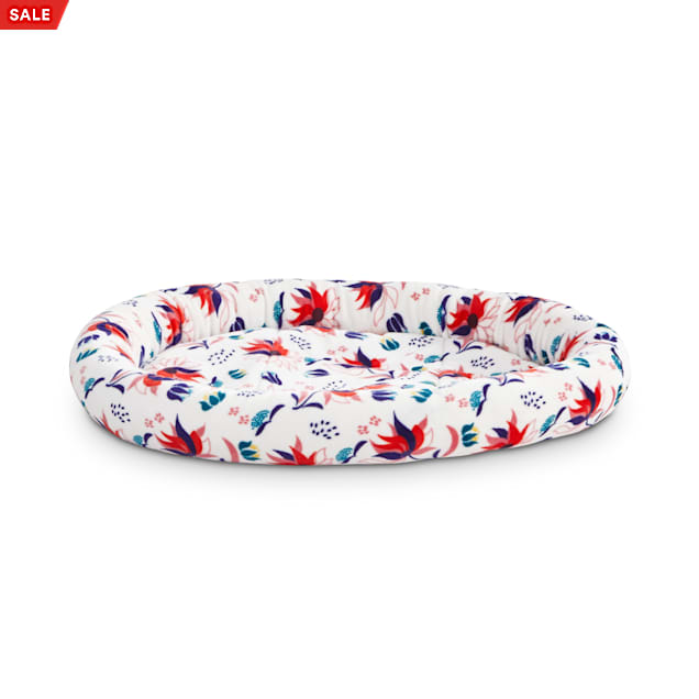 """EveryYay Snooze Fest White Floral Oval Lounger Cat Bed, 17"""" L X 14"""" W X 2"""" H - Carousel image #1"""