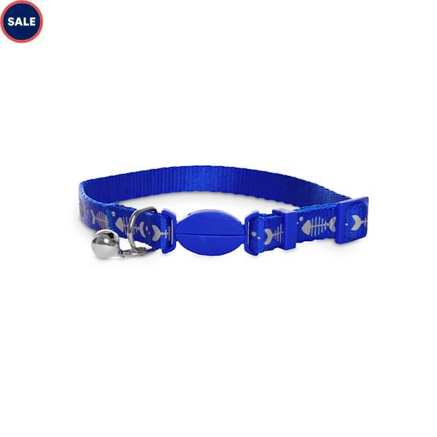Bond & Co. Blue Reflective Fishbone-Print Cat Collar - Carousel image #1