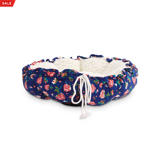 """EveryYay Snooze Fest Navy Floral Printed Round Cat Bed, 16-20"""" L - Carousel image #1"""