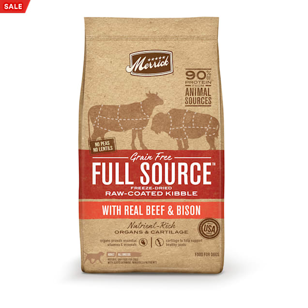 Merrick Full Source Grain Free Raw-Coated Kibble With Real Beef & Bison Recipe Dry Dog Food, 20 lbs. - Carousel image #1