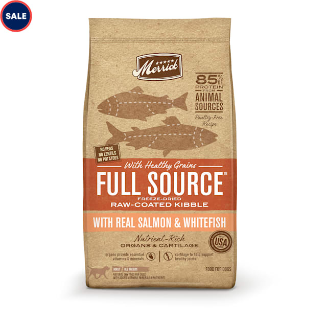 Merrick Full Source Raw-Coated Kibble Real Salmon & Whitefish with Healthy Grains Dry Dog Food, 20 lbs. - Carousel image #1