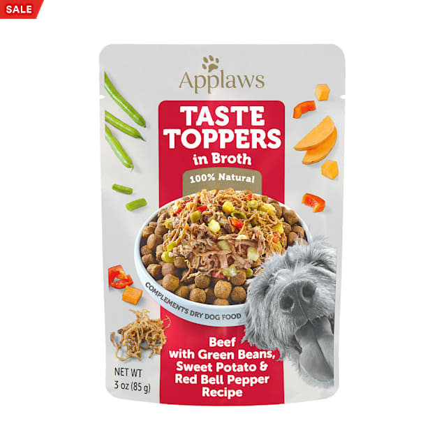 Applaws Taste Toppers Beef, Green Bean & Sweet Potato in Broth Wet Dog Food, 3 oz. - Carousel image #1