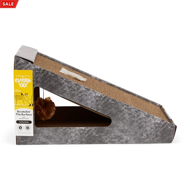 """EveryYay Scratchin' the Surface Cardboard Ramp Cat Scratcher in Various Styles, 17.5"""" L X 9.5"""" W X 9.5"""" H - Carousel image #1"""