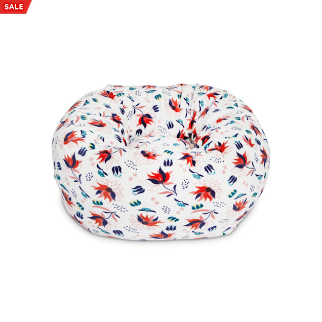 """EveryYay Snooze Fest Ivory Floral Snuggler Ball Cat Bed, 18"""" L X 18"""" W X 9"""" H - Carousel image #1"""