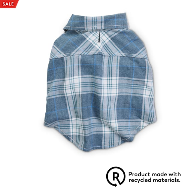 Reddy Blue Washed Plaid Flannel Dog Shirt, X-Small - Carousel image #1