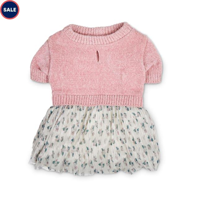 Bond & Co. Pink Chenille Knit & Floral-Print Dog Dress, Medium - Carousel image #1