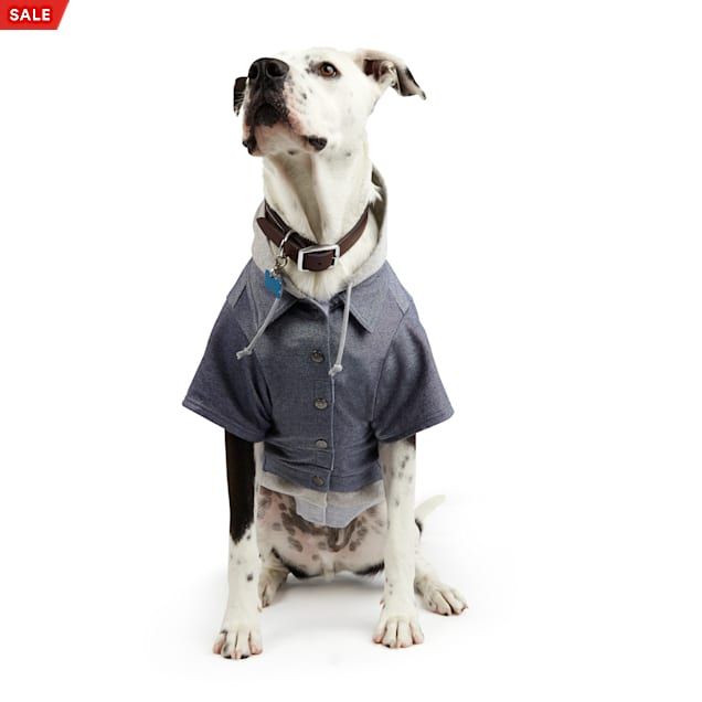 YOULY The Revolutionary Denim Dog Jacket with Grey Hoodie, Medium - Carousel image #1