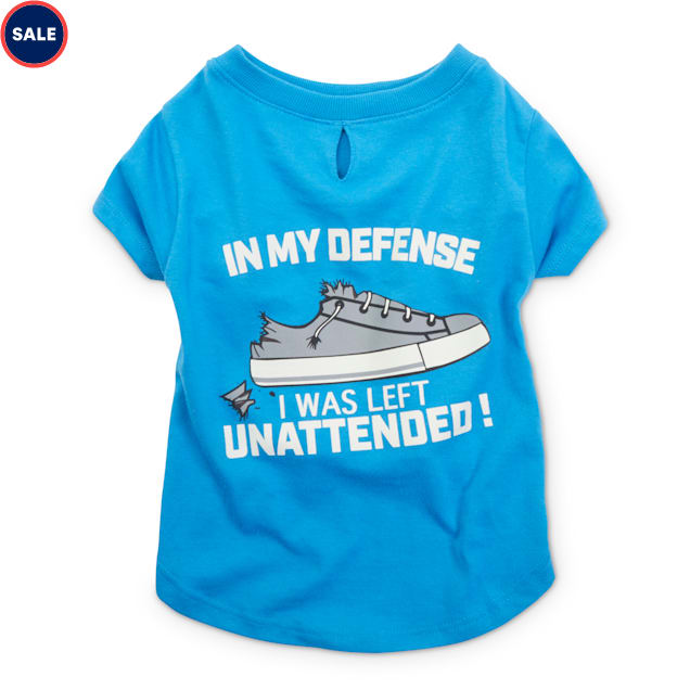 Bond & Co. Blue In My Defense I Was Left Unsupervised Dog T-Shirt, XX-Small - Carousel image #1