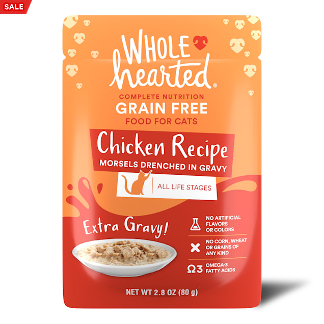 WholeHearted All Life Stages Grain-Free Chicken Recipe Morsels in Extra Gravy Wet Cat Food, 2.8 oz., Case of 12 - Carousel image #1