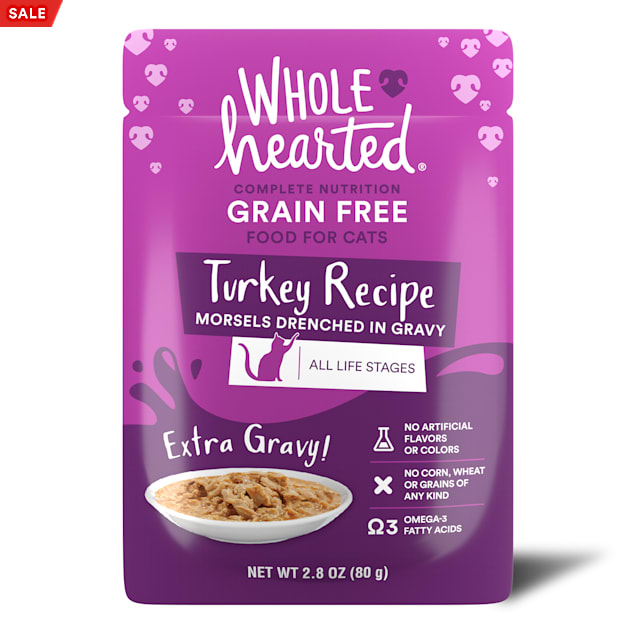 WholeHearted All Life Stages Grain-Free Turkey Recipe Morsels in Extra Gravy Wet Cat Food, 2.8 oz., Case of 12 - Carousel image #1