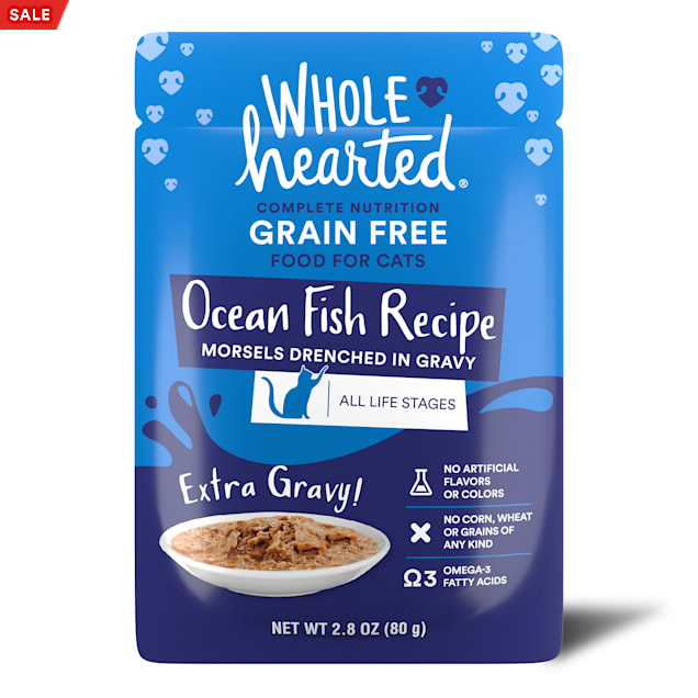WholeHearted All Life Stages Grain-Free Ocean Fish Recipe Morsels in Extra Gravy Wet Cat Food, 2.8 oz., Case of 12 - Carousel image #1