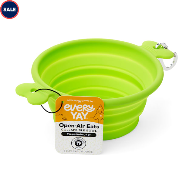 EveryYay Open-Air Eats Green Collapsible Bowl for Dogs, 3 Cups - Carousel image #1