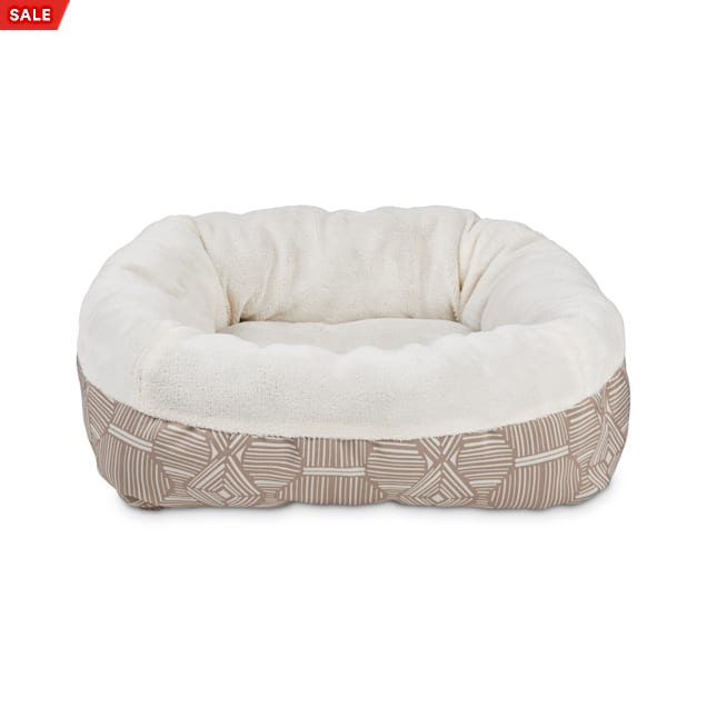 """EveryYay Essentials Snooze Fest Brown Bolster Dog Bed, 18"""" L X 18"""" W X 6"""" H - Carousel image #1"""
