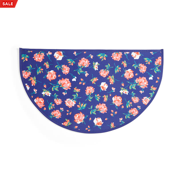 EveryYay Table Manners Navy Floral-Print Coated-Canvas Placemat for Pets - Carousel image #1