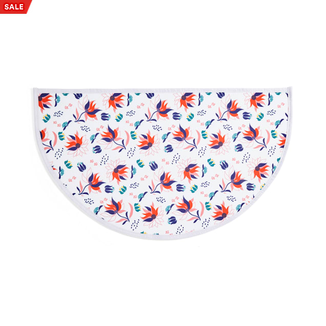 EveryYay Table Manners White Floral-Print Coated-Canvas Placemat for Pets - Carousel image #1