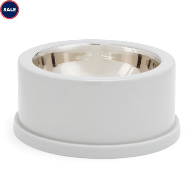 EveryYay Dining In Grey Enamel-Coated Stainless-Steel Dog Bowl, 1 Cup - Carousel image #1