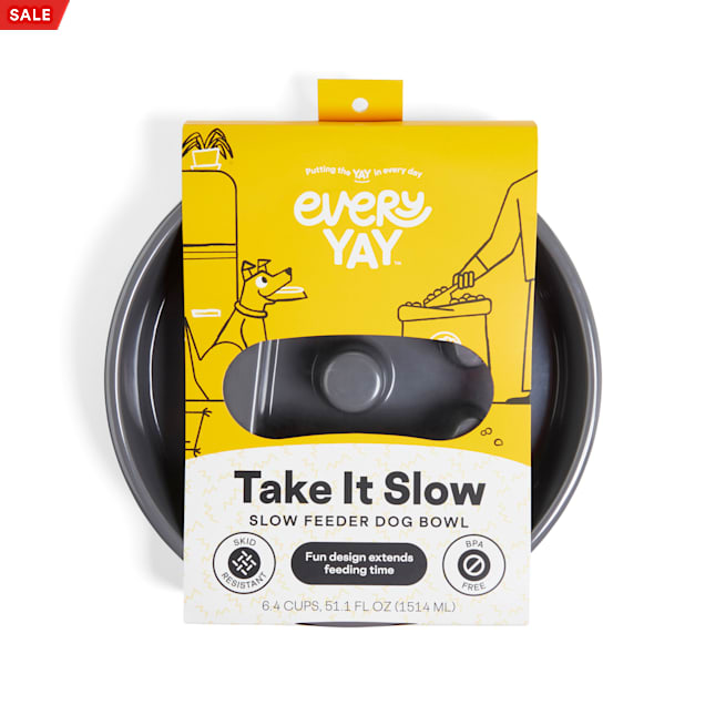 EveryYay Take It Slow Grey Slow Feeder Dog Bowl, 6.4 Cups - Carousel image #1