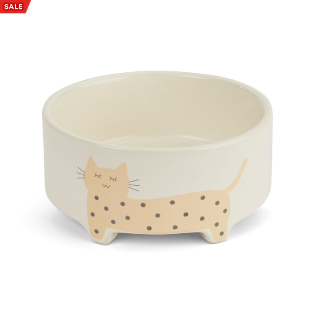 EveryYay Dining In Footed Ceramic Cat Bowl, 1.4 Cups - Carousel image #1