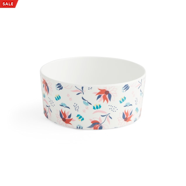 EveryYay Dining In White Floral-Print Melamine Cat Bowl, 2.3 Cups - Carousel image #1