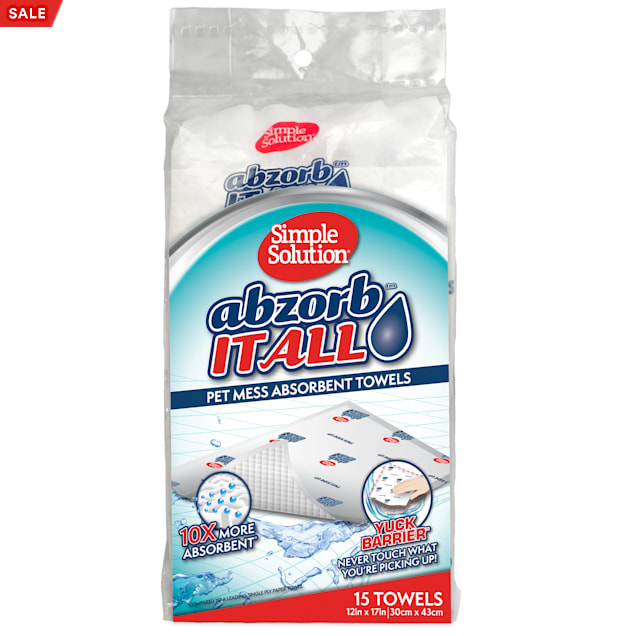 Simple Solution Abzorbitall Mess Absorbent Towels for Pets, Count of 15 - Carousel image #1