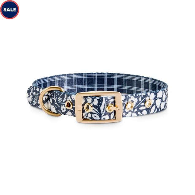 Bond & Co. Black & White Floral & Plaid Reversible Dog Collar, Small - Carousel image #1