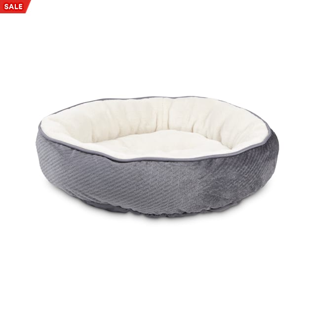 """EveryYay Snooze Fest Grey Textured Round Cat Bed, 20"""" L X 20"""" W X 20"""" H - Carousel image #1"""