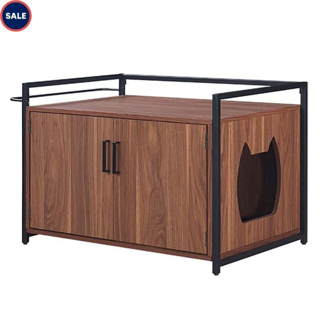"UniPaws Walnut Wood Cat Washroom Bench with Metal Frame, 30"" L X 20"" W X 21"" H - Carousel image #1"