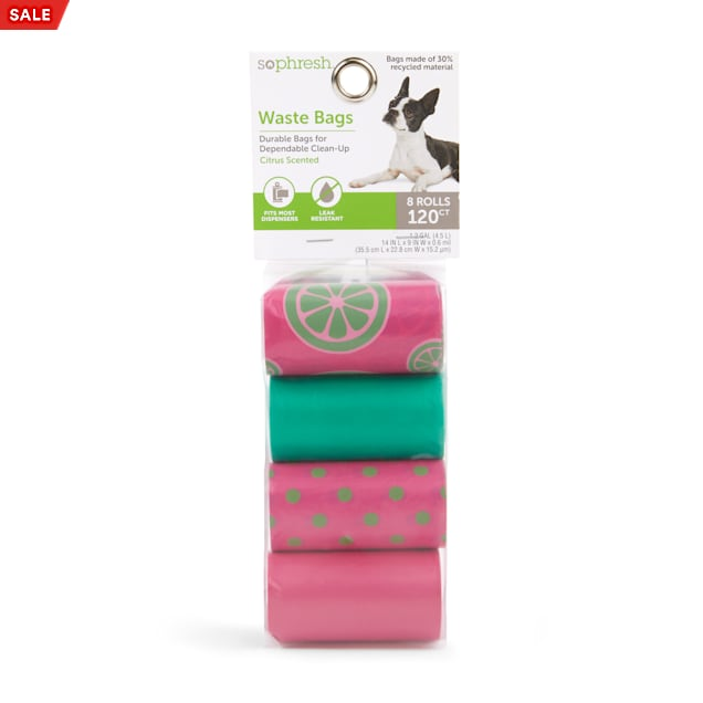 So Phresh Pink & Green Printed Citrus-Scented Dog Waste Bags, Count of 120 - Carousel image #1