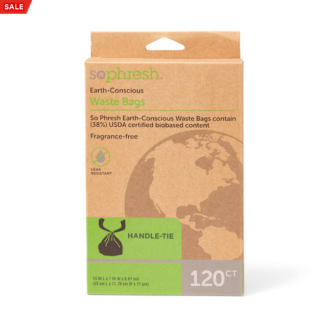 So Phresh Earth-Conscious Dog Waste Bags with Handle Tie, Count of 120 - Carousel image #1