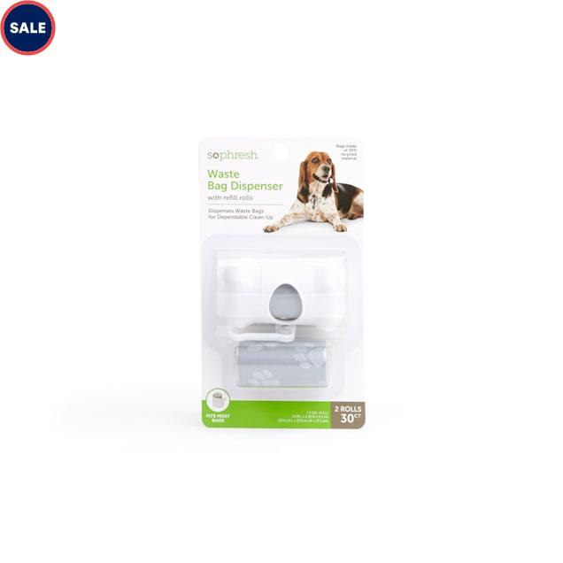 So Phresh Grey Bone Dog Waste Bag Dispenser with Pawprint Refill Rolls - Carousel image #1