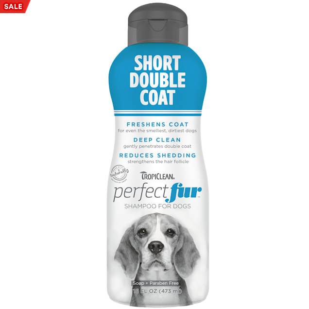 TropiClean Perfect Fur Short Double Coat Dog Shampoo, 16 fl. oz. - Carousel image #1