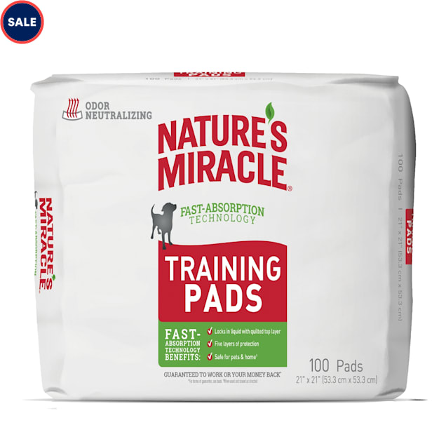 Nature's Miracle Puppy Training Pads With Fast Absorption Technology, Count of 100 - Carousel image #1