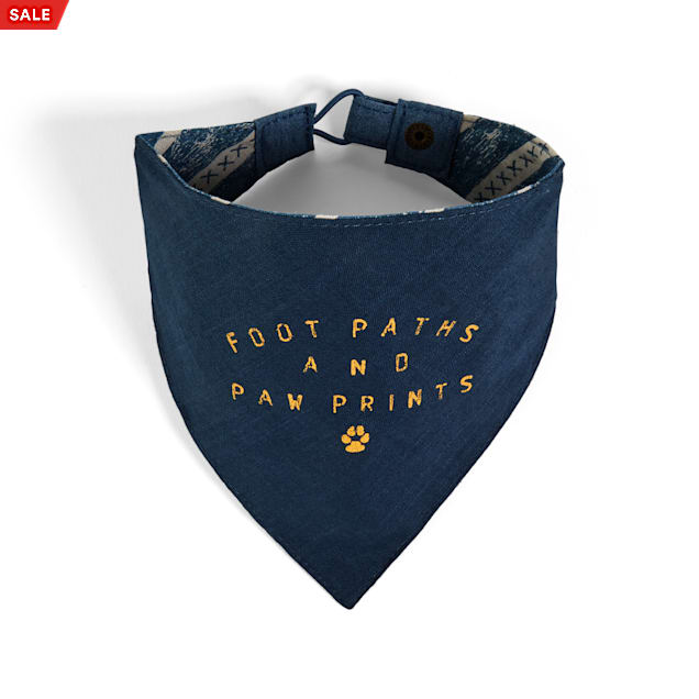 YOULY The Dreamer Footprints & Pawprints Blue Reversible Dog Bandana, X-Small/Small - Carousel image #1
