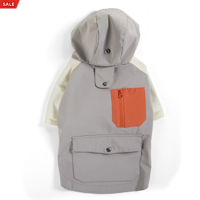YOULY The Nature Lover Grey Colorblocked Dog Raincoat, X-Small - Carousel image #1