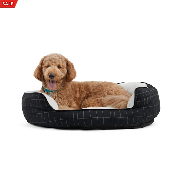 "EveryYay Essentials Snooze Fest Black Windowpane-Print Round Dog Bed, 36"" L X 30"" W - Carousel image #1"
