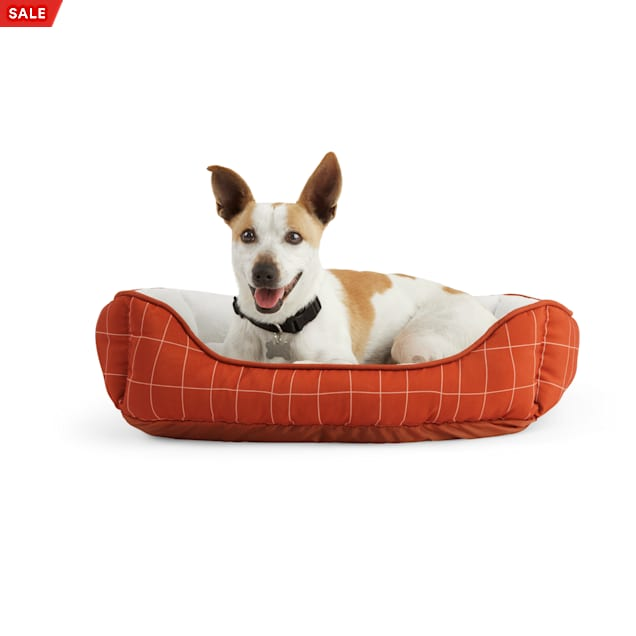"""EveryYay Essentials Snooze Fest Brown Windowpane-Print Dog Bed, 24"""" L X 18"""" W - Carousel image #1"""